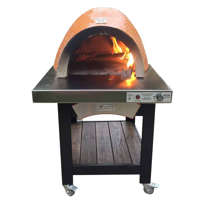 FDP-FORNO-EI Forno Dual Fuel Wood & Gas Countertop Glass Tile Pizza Oven on Cart