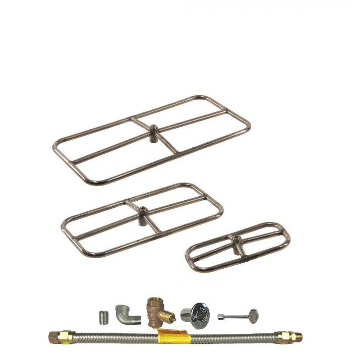 Spotix Rectangle HPC Match Lit Fire Pit Burner Kits