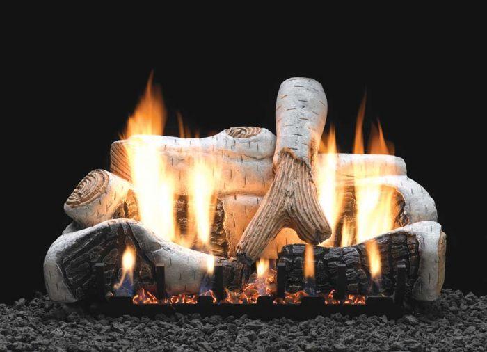 White Mountain Hearth LSxxB2-Kit Ceramic Fiber Birch Complete Fireplace Log Set