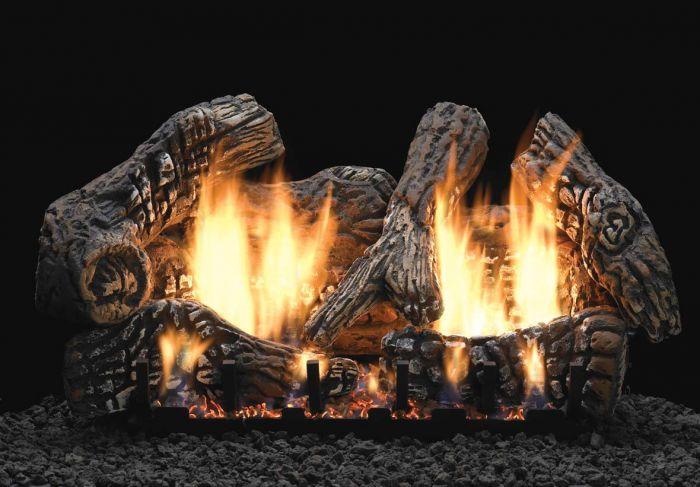 White Mountain Hearth LSxxC2S-Kit Ceramic Fiber Super Charred Oak Complete Fireplace Log Set