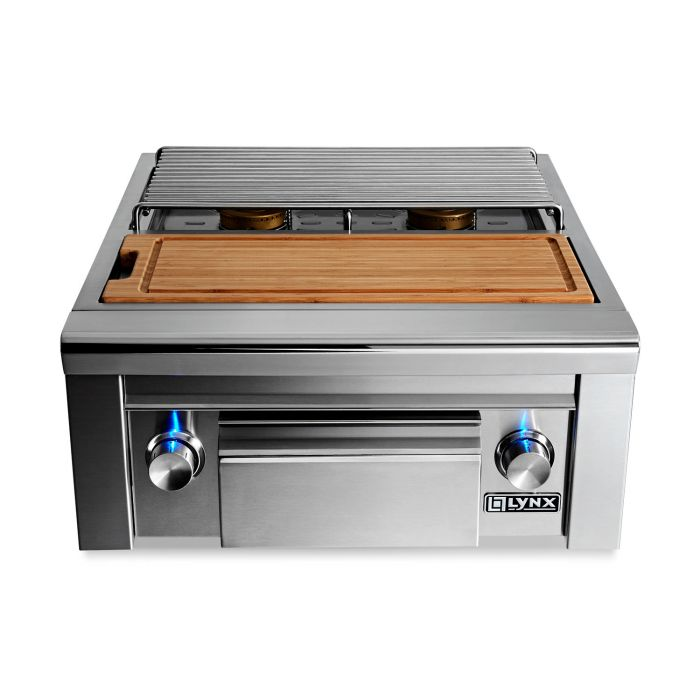 Lynx 25-Inch Built-In Double Side Burner With Cutting Board And Drawer