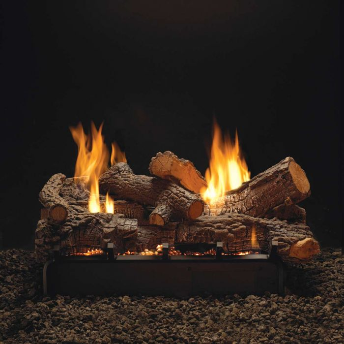 White Mountain Hearth LSUxxRR-Kit Refractory Rock Creek Complete Double Sided Fireplace Log Set
