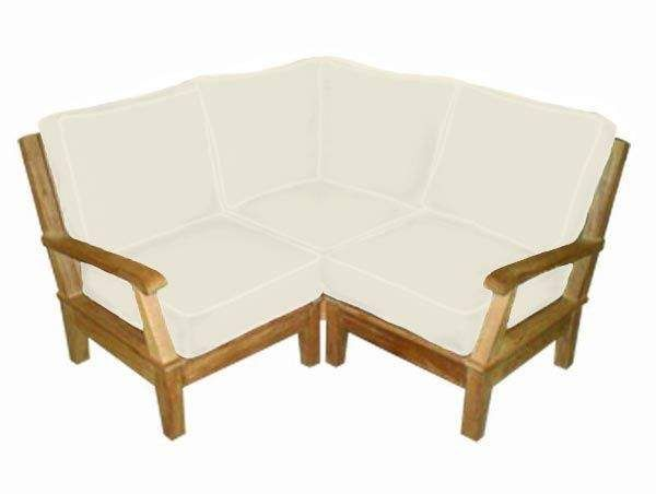Royal Teak Collection MIABASE Miami Teak Sectional Corner, Frame Only (Cushions Not Included)