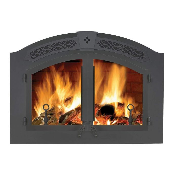 Napoleon NZ6000 High Country 6000 Wood Fireplace, Arched Wrought Iron Double Door, Wrought Iron Faceplate