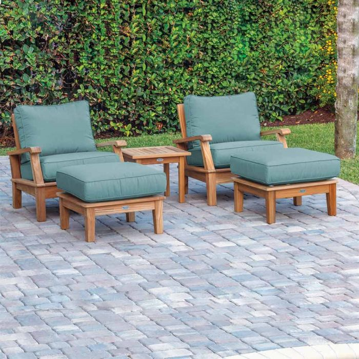 Royal Teak Collection P105 Miami Deep Seating 5-Piece Teak Patio Conversation Set with Chairs, Ottomans, Square Side Table & Sunbrella Cushions