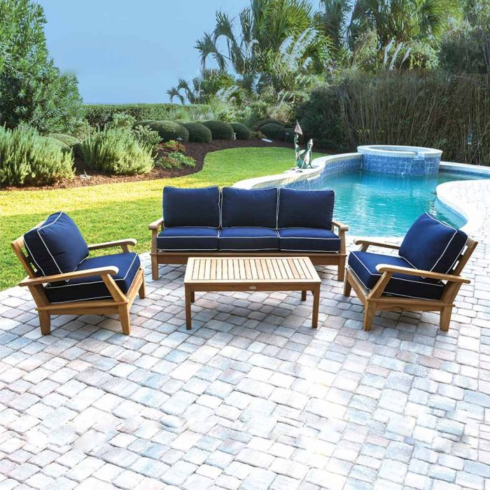Royal Teak Collection P108 Miami Deep Seating 4-Piece Teak Patio Conversation Set with Seating, Rectangular Coffee Table & Sunbrella Cushions