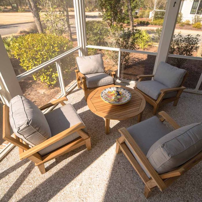 Royal Teak Collection P109 Miami Deep Seating 5-Piece Teak Patio Conversation Set with Chairs, Round Coffee Table & Sunbrella Cushions