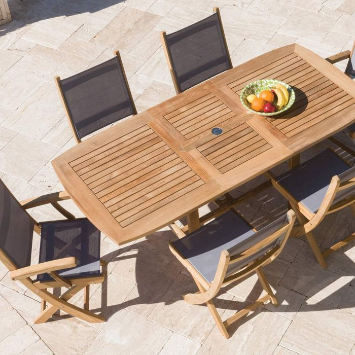 Royal Teak Collection P11 7-Piece Teak Patio Dining Set with 60/78-Inch Rectangular Expansion Table & Sailmate Sling Folding Chairs