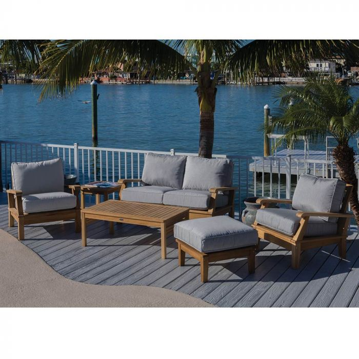 Royal Teak Collection P115 Miami Deep Seating 6-Piece Teak Patio Conversation Set with Seating, Rectangular Coffee Table, Square Side Table & Sunbrella Cushions