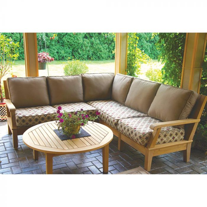 Royal Teak Collection P117 Miami Deep Seating 4-Piece Teak Patio Conversation Set with Sectional Seating, Round Coffee Table & Sunbrella Cushions