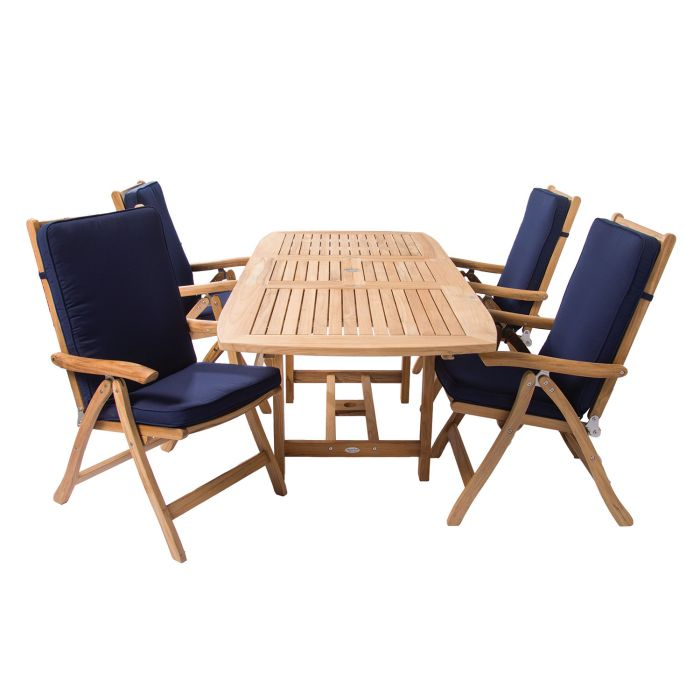 Royal Teak Collection P12 5-Piece Teak Patio Dining Set with 60/78x35-Inch Rectangular Expansion Table & Estate Reclining Chairs