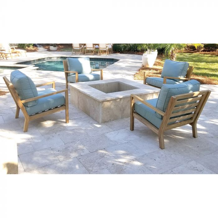 Royal Teak Collection P124 Coastal Deep Seating 4-Piece Teak Patio Conversation Set with 4 Chairs & Sunbrella Cushions