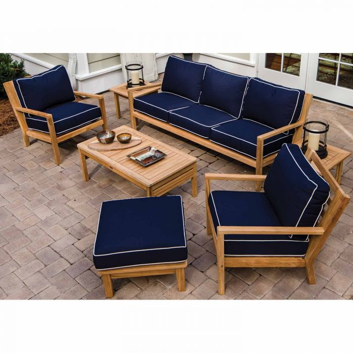Royal Teak Collection P128 Coastal Deep Seating 7-Piece Teak Patio Conversation Set with Seating, Rectangular Coffee Table, Square Side Tables & Sunbrella Cushions
