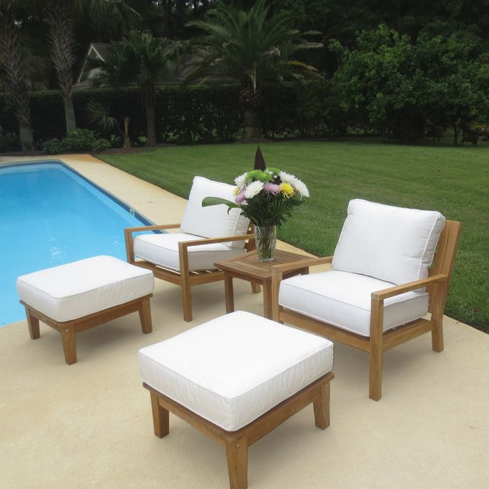 Royal Teak Collection P129 Coastal Deep Seating 5-Piece Teak Patio Conversation Set with Chairs, Ottomans, Square Side Table & Sunbrella Cushions