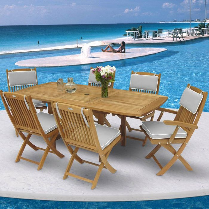 Royal Teak Collection P13 7-Piece Teak Patio Dining Set with 60/78x35-Inch Rectangular Expansion Table & Sailor Folding Chairs