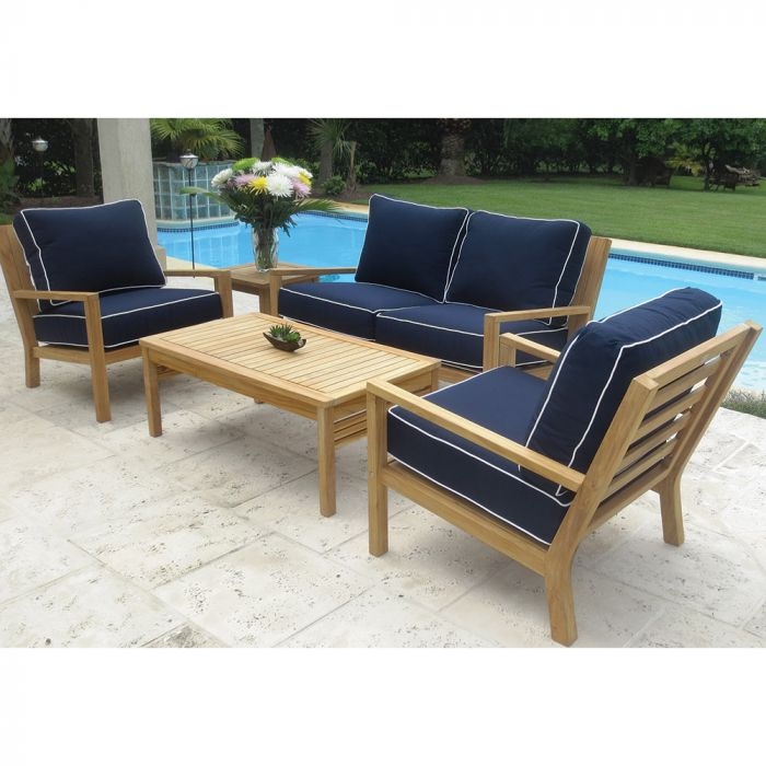 Royal Teak Collection P131 Coastal Deep Seating 5-Piece Teak Patio Conversation Set with Seating, Rectangular Coffee Table, Square Side Table & Sunbrella Cushions