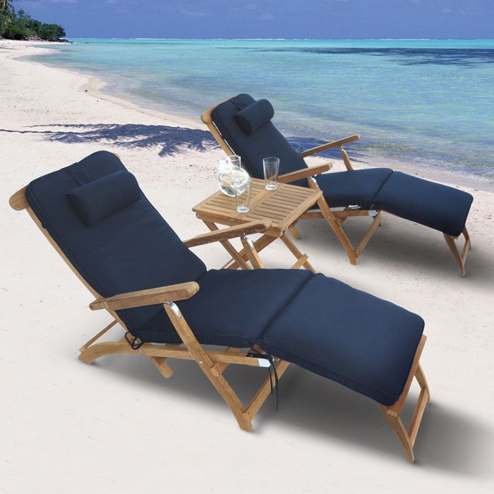 Royal Teak Collection P136 3-Piece Teak Patio Conversation Set with Steamer Loungers & 20-Inch Square Folding Picnic Table