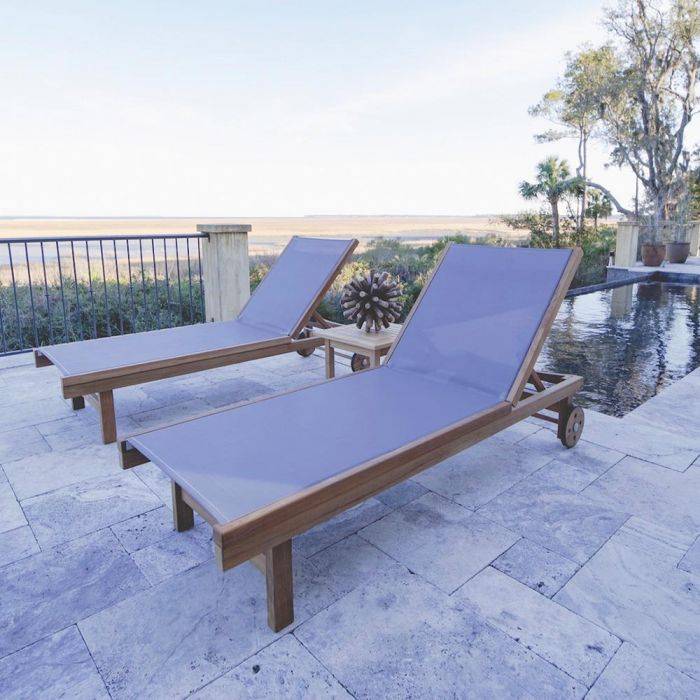 Royal Teak Collection P148 3-Piece Teak Patio Conversation Set with Sling Sundaze Loungers & 20-Inch Square Side Table