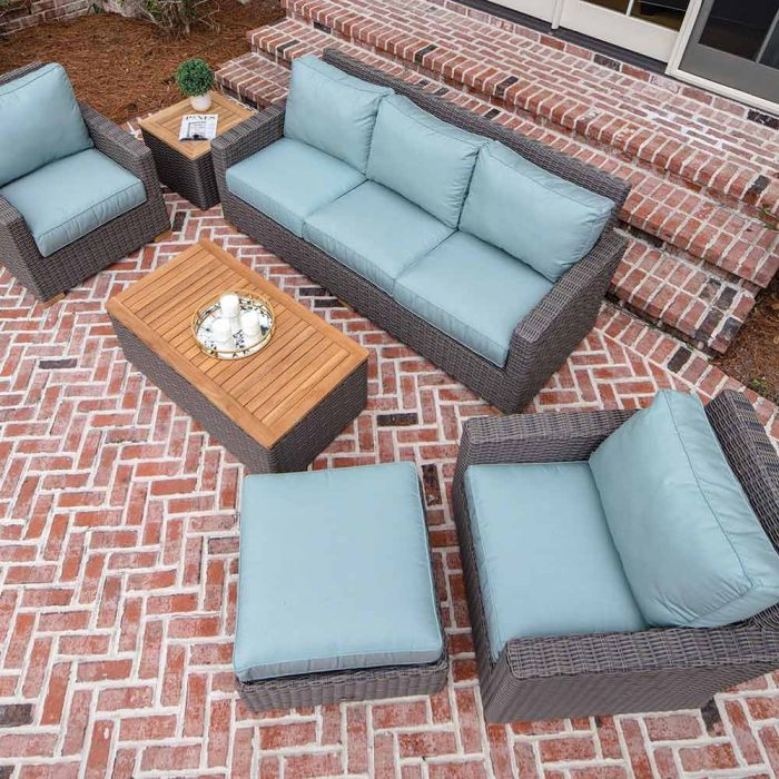 Royal Teak Collection P156 Sanibel Deep Seating 6-Piece Wicker Patio Conversation Set with Seating, Rectangular Coffee Table, Side Table & Sunbrella Cushions