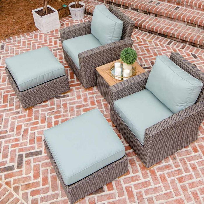 Royal Teak Collection P160 Sanibel Deep Seating 5 Piece Wicker Patio Conversation Set With Chairs Ottomans
