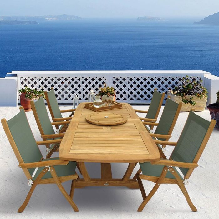 Royal Teak Collection P18 7-Piece Teak Patio Dining Set with 72/96x39-Inch Rectangular Expansion Table & Florida Sling Reclining Chairs