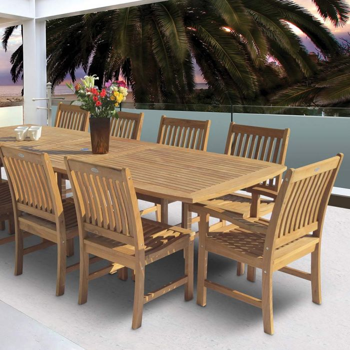 Royal Teak Collection P19 11-Piece Teak Patio Dining Set with 96/120-Inch Rectangular Expansion Table & Compass Chairs