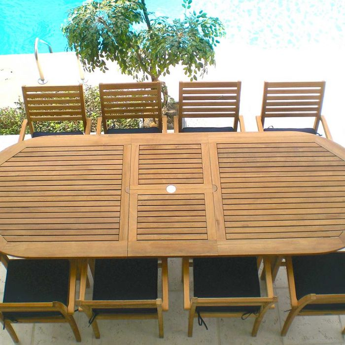 Royal Teak Collection P21 9-Piece Teak Patio Dining Set with 96/120-Inch Oval Expansion Table & Avant Stacking Chairs
