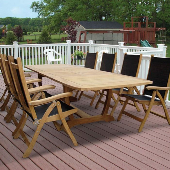 Royal Teak Collection P27 9-Piece Teak Patio Dining Set with 84/102/120x43.5-Inch Double Leaf Rectangular Expansion Table & Florida Sling Reclining Chairs