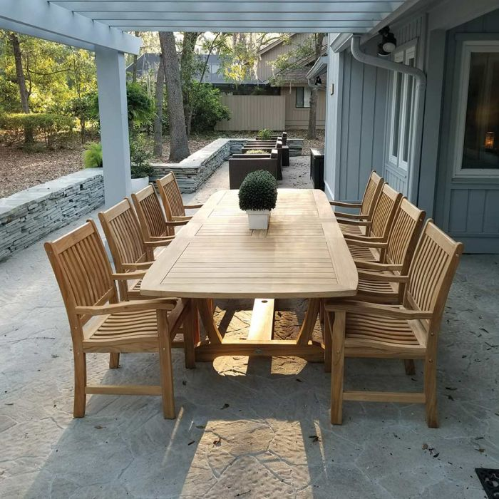 Royal Teak Collection P28 9-Piece Teak Patio Dining Set with 84/102/120x43.5-Inch Double Leaf Rectangular Expansion Table & Compass Arm Chairs