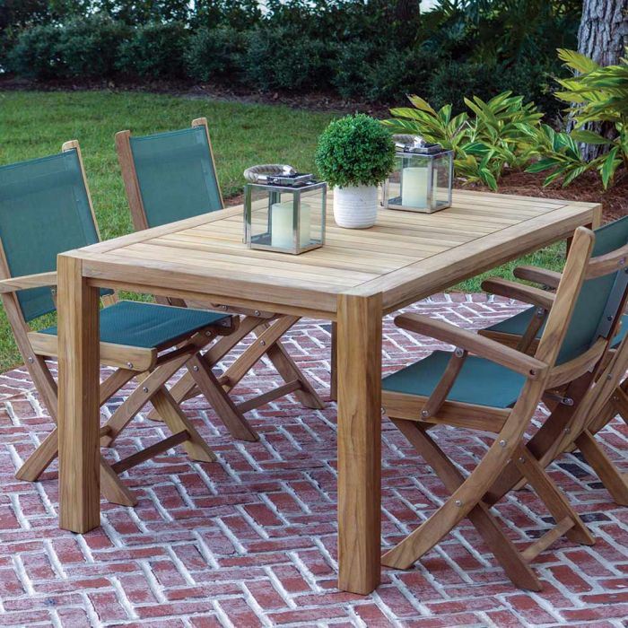Royal Teak Collection P33 5-Piece Teak Patio Dining Set with 63x35-Inch Rectangular Table & Sailmate Sling Folding Arm Chairs