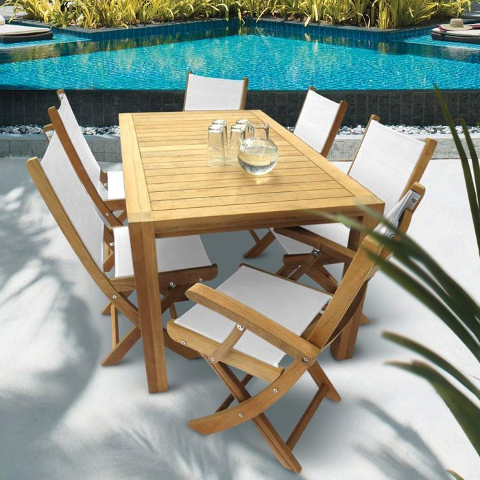 Royal Teak Collection P35 7-Piece Teak Patio Dining Set with 63x35-Inch Rectangular Table & Sailmate Sling Folding Chairs