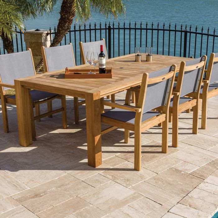 Royal Teak Collection P37 7-Piece Teak Patio Dining Set with 96x44-Inch Rectangular Table & Captiva Sling Stacking Chairs