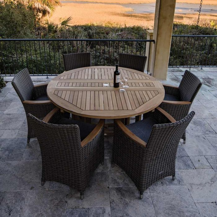 Royal Teak Collection P39 7-Piece Teak Patio Dining Set with 60-Inch Round Drop Leaf Table & Helena Full-Weave Wicker Chairs