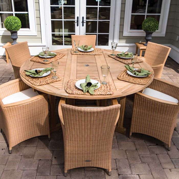 Royal Teak Collection P43 7-Piece Teak Patio Dining Set with 72-Inch Round Drop Leaf Table & Helena Full-Weave Wicker Chairs
