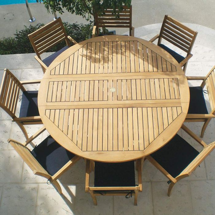 Royal Teak Collection P44 9-Piece Teak Patio Dining Set with 72-Inch Round Drop Leaf Table & Avant Stacking Chairs