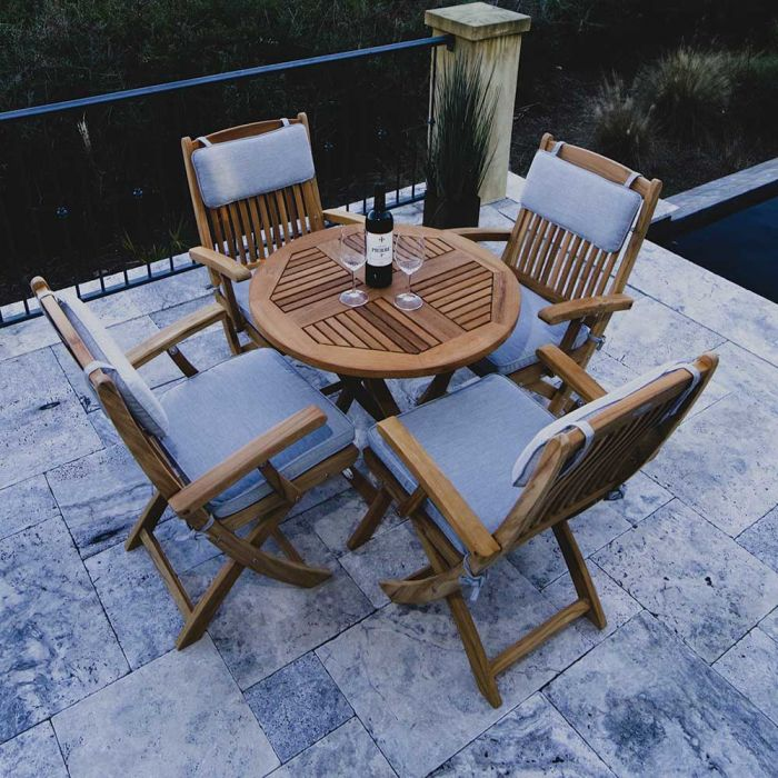 Royal Teak Collection P45 5-Piece Teak Patio Dining Set with 30-Inch Sailor Round Folding Table & Sailor Folding Arm Chairs