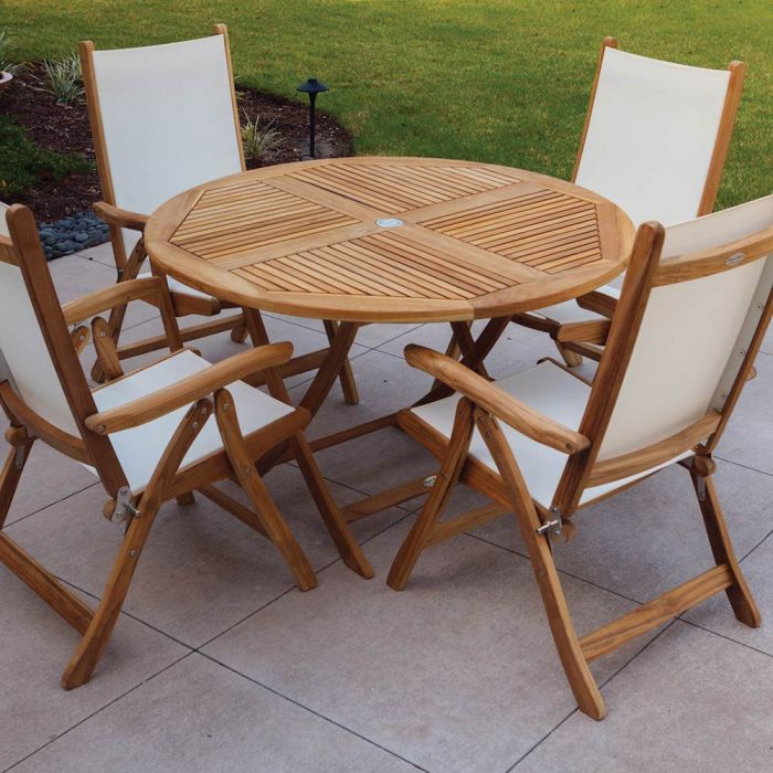 Royal Teak Collection P47 5-Piece Teak Patio Dining Set with 47-Inch Sailor Round Folding Table & Florida Sling Reclining Chairs