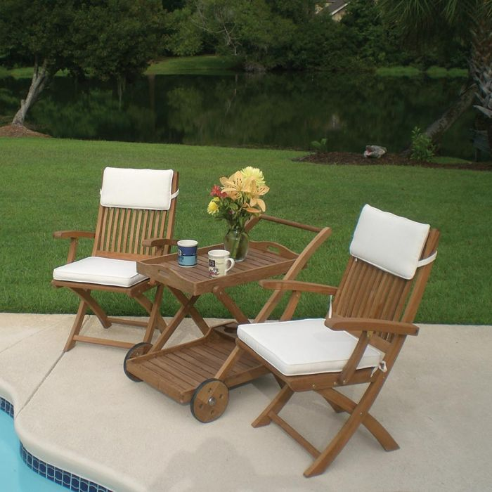Royal Teak Collection P57 3-Piece Teak Patio Conversation Set with 36x21.5-Inch Tray Cart & Sailor Folding Arm Chairs
