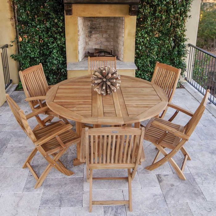 Royal Teak Collection P59 7-Piece Teak Patio Dining Set with 60-Inch Round Drop Leaf Table & Sailor Folding Arm Chairs