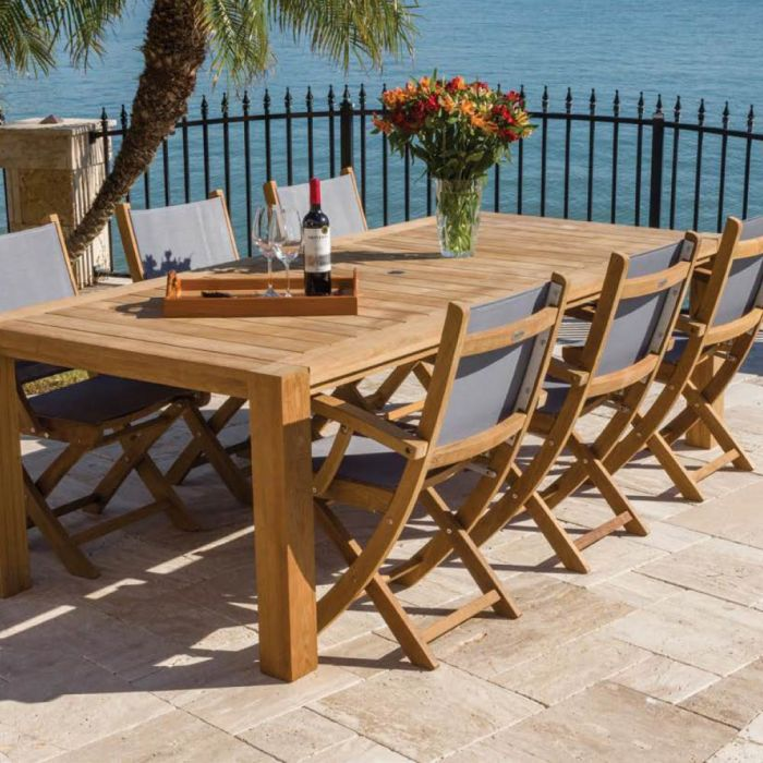 Royal Teak Collection P61 7-Piece Teak Patio Dining Set with 96x44-Inch Rectangular Table & Sailmate Sling Folding Arm Chairs