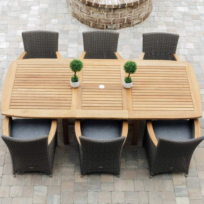 Royal Teak Collection P6 7-Piece Teak Patio Dining Set with 72/96-Inch Rectangular Expansion Table & Helena Full-Weave Wicker Chairs
