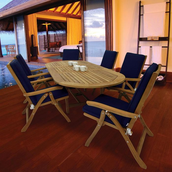 Royal Teak Collection P73 7-Piece Teak Patio Dining Set with 72/96-Inch Oval Expansion Table & Estate Reclining Chairs