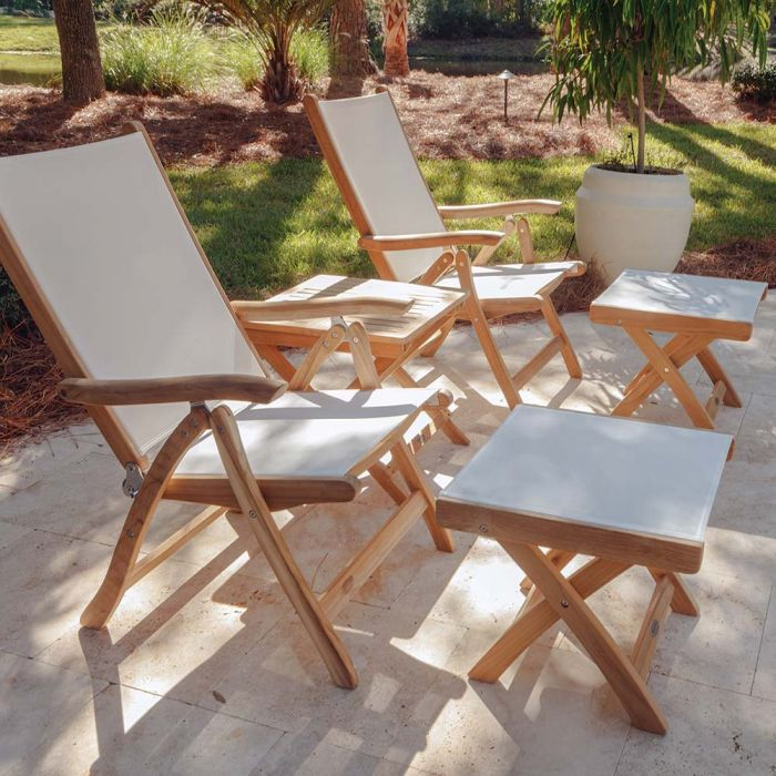 Royal Teak Collection P79 5-Piece Teak Patio Conversation Set with 20x20-Inch Square Folding Picnic Table, Florida Sling Reclining Chairs & Footrests