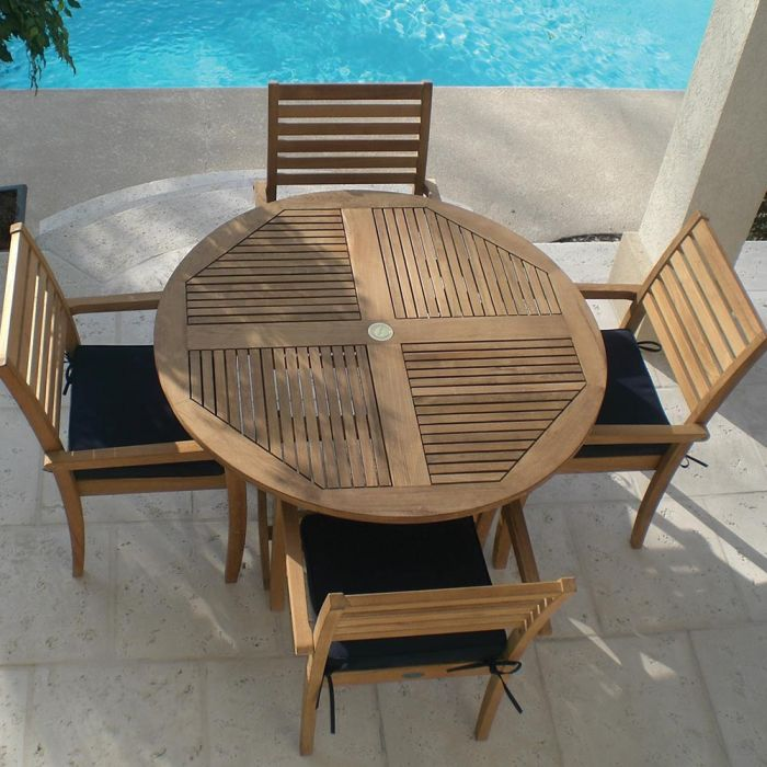 Royal Teak Collection P83 5-Piece Teak Patio Dining Set with 47-Inch Sailor Round Folding Table & Avant Stacking Chairs