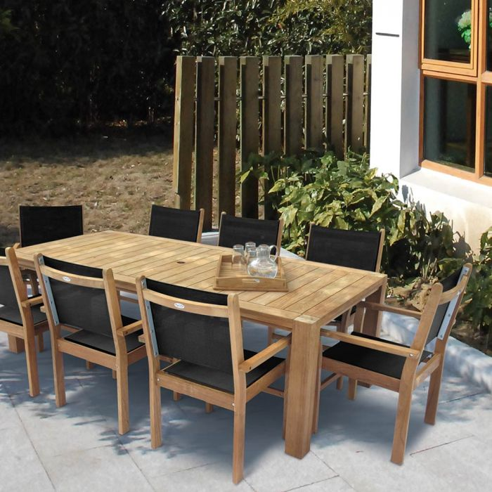 Royal Teak Collection P87 9-Piece Teak Patio Dining Set with 96x44-Inch Rectangular Table & Captiva Sling Stacking Chairs