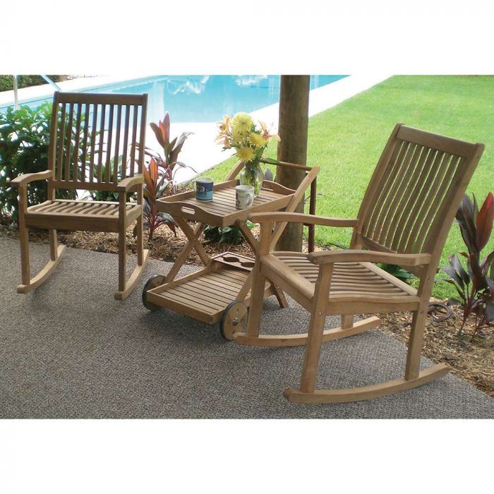 Royal Teak Collection P95 3-Piece Teak Patio Conversation Set with 36x21.5-Inch Tray Cart & Highback Rocking Chairs