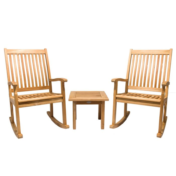 Royal Teak Collection P96 3-Piece Teak Patio Conversation Set with 20x20-Inch Square Miami Side Table & Highback Rocking Chairs