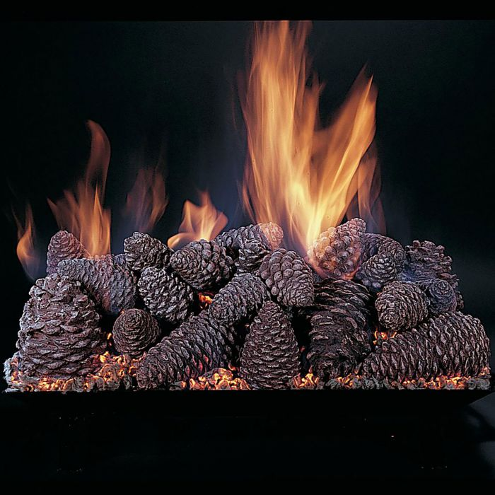 Rasmussen PC Pine Cones Gas Fireplace Set