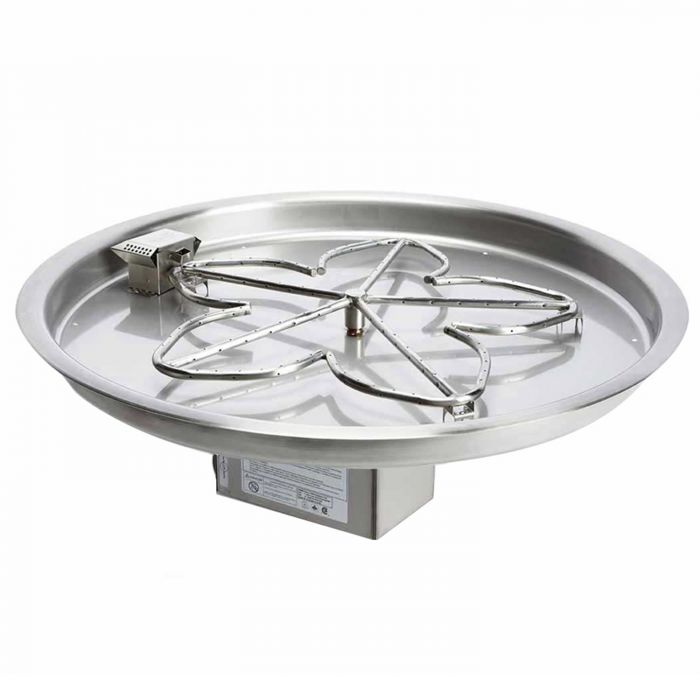 Hearth Products Controls Electronic Ignition Gas Fire Pit Kit, Round Bowl Pan