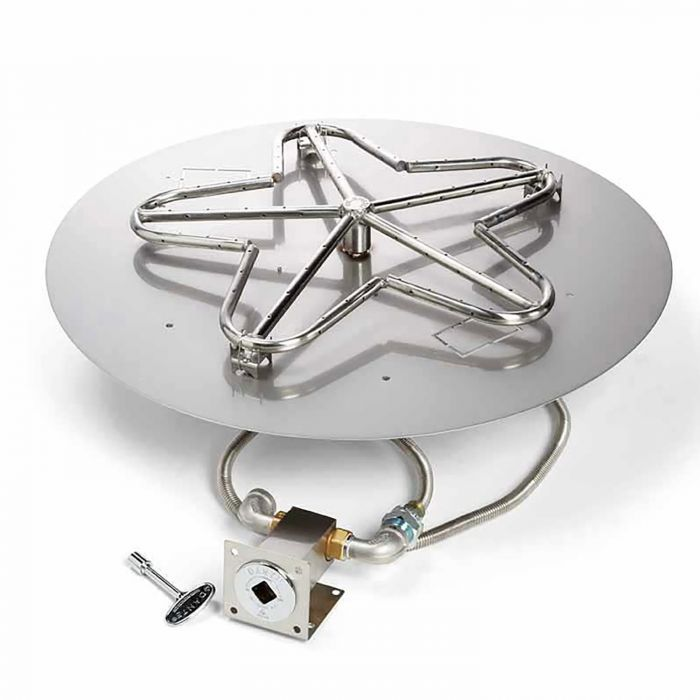 Hearth Products Controls MLFPK Match Light Gas Fire Pit Kit, Round Flat Pan
